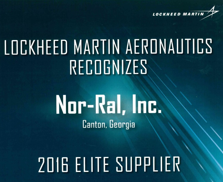 Nor Ral Inc. Awarded Elite Supplier By Lockheed Martin